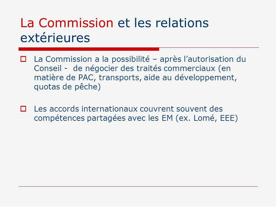 La Commission et les relations extérieures La Commission a la possibilité – après lautorisation du Conseil - de négocier des traités commerciaux (en m