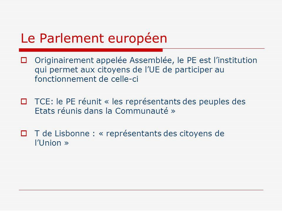 Le Parlement européen Originairement appelée Assemblée, le PE est linstitution qui permet aux citoyens de lUE de participer au fonctionnement de celle