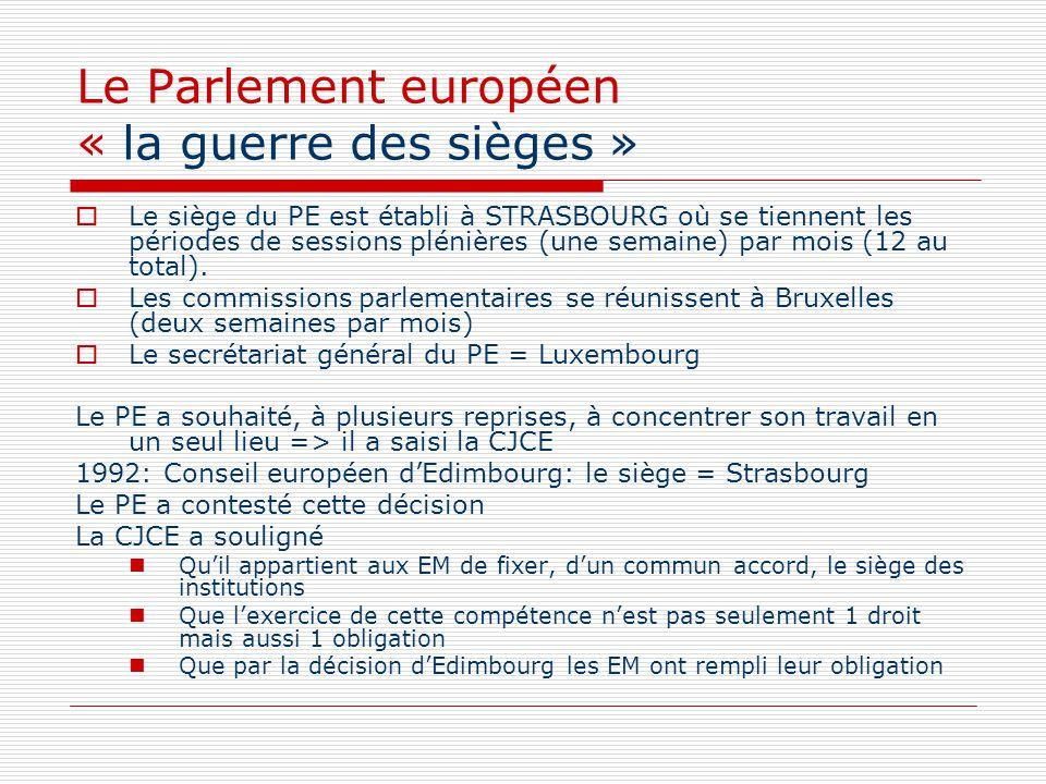 Le Parlement européen « la guerre des sièges » Le siège du PE est établi à STRASBOURG où se tiennent les périodes de sessions plénières (une semaine)