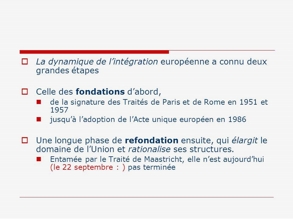 La dynamique de lintégration européenne a connu deux grandes étapes Celle des fondations dabord, de la signature des Traités de Paris et de Rome en 19