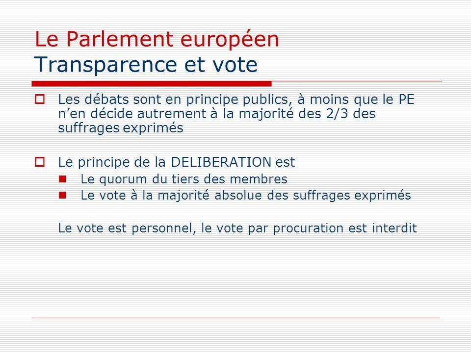 Le Parlement européen Transparence et vote Les débats sont en principe publics, à moins que le PE nen décide autrement à la majorité des 2/3 des suffr