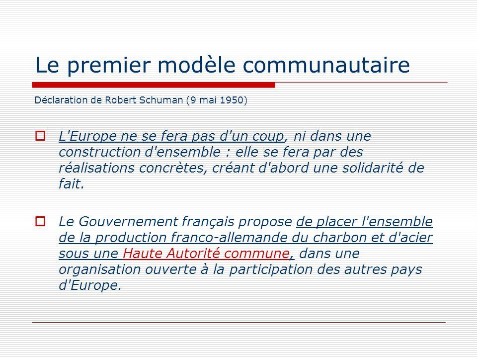 Le premier modèle communautaire Déclaration de Robert Schuman (9 mai 1950) L'Europe ne se fera pas d'un coup, ni dans une construction d'ensemble : el