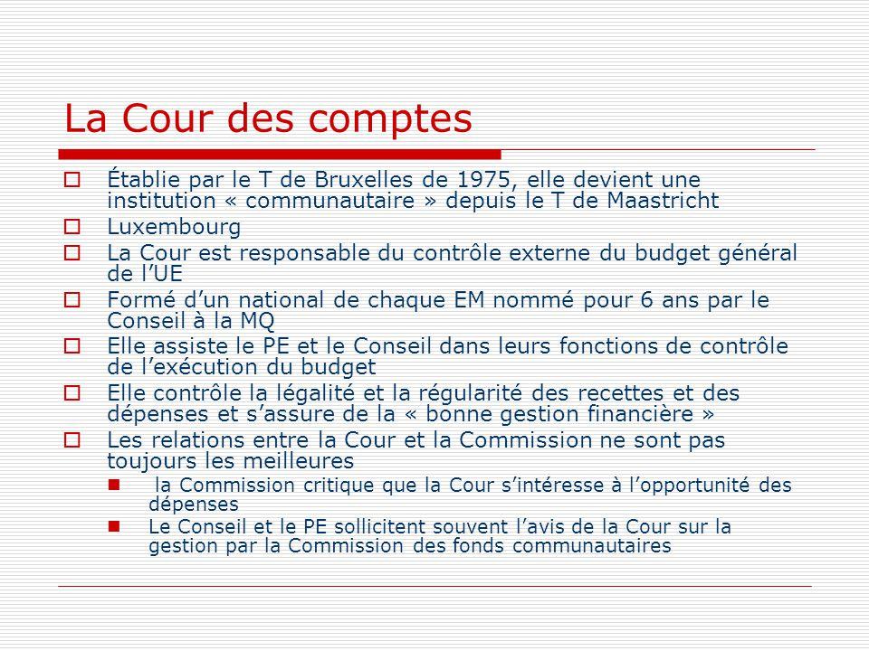 La Cour des comptes Établie par le T de Bruxelles de 1975, elle devient une institution « communautaire » depuis le T de Maastricht Luxembourg La Cour