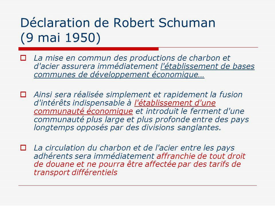 Déclaration de Robert Schuman (9 mai 1950) La mise en commun des productions de charbon et d'acier assurera immédiatement l'établissement de bases com