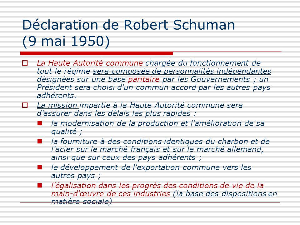 Déclaration de Robert Schuman (9 mai 1950) La Haute Autorité commune chargée du fonctionnement de tout le régime sera composée de personnalités indépe