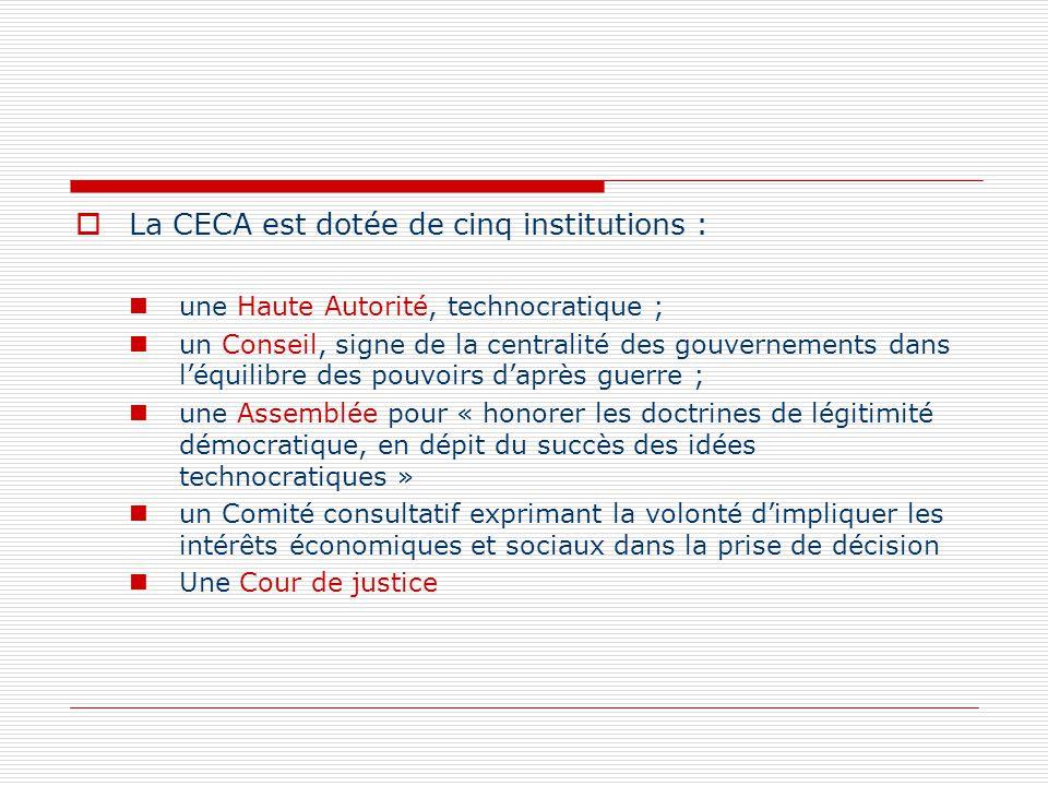 La CECA est dotée de cinq institutions : une Haute Autorité, technocratique ; un Conseil, signe de la centralité des gouvernements dans léquilibre des