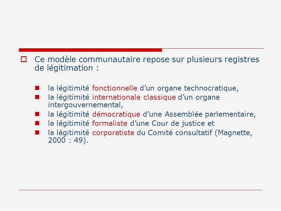 Ce modèle communautaire repose sur plusieurs registres de légitimation : la légitimité fonctionnelle dun organe technocratique, la légitimité internat