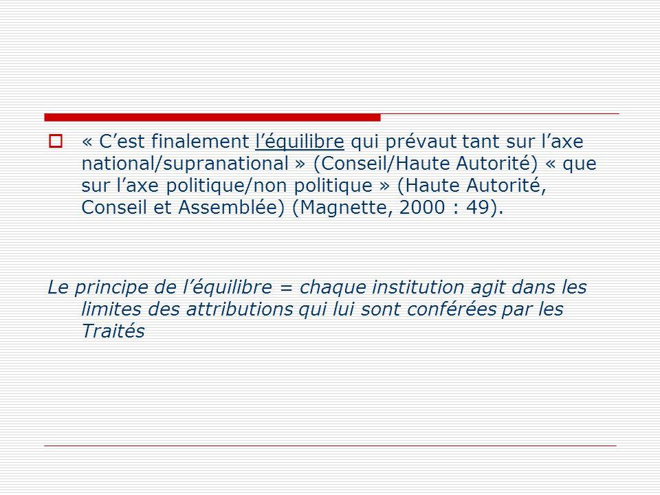 « Cest finalement léquilibre qui prévaut tant sur laxe national/supranational » (Conseil/Haute Autorité) « que sur laxe politique/non politique » (Hau