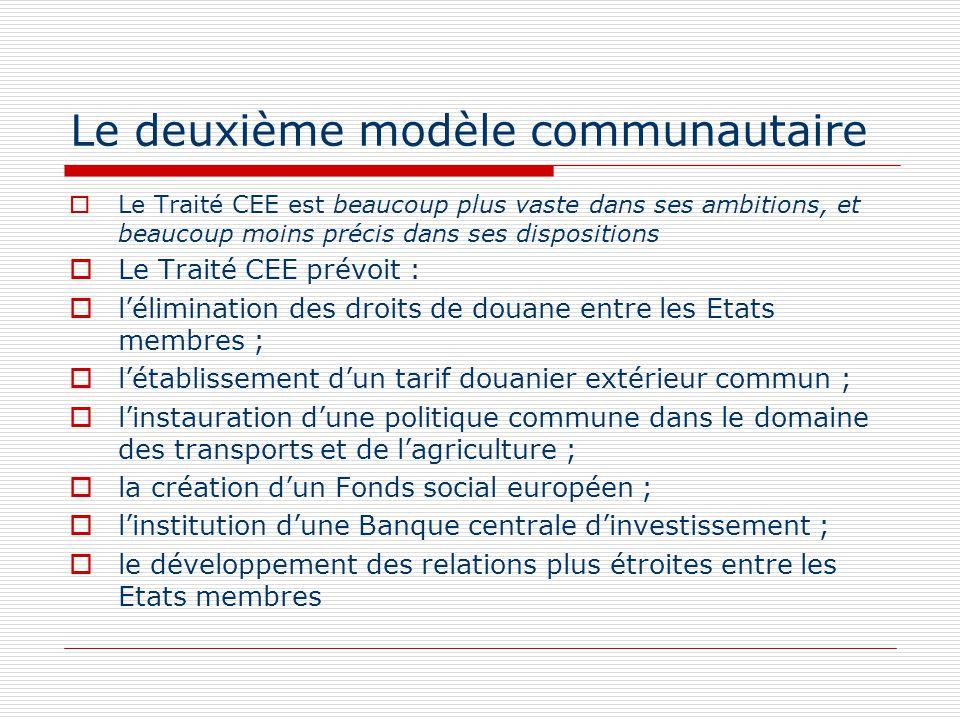Le deuxième modèle communautaire Le Traité CEE est beaucoup plus vaste dans ses ambitions, et beaucoup moins précis dans ses dispositions Le Traité CE
