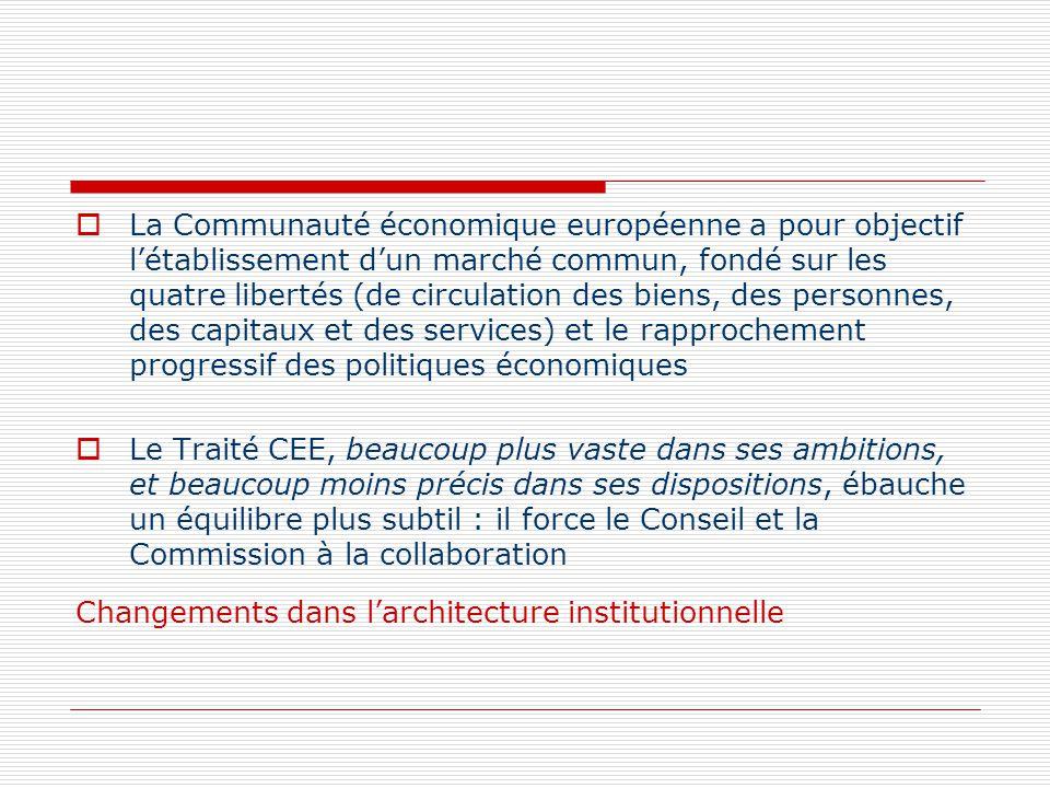 La Communauté économique européenne a pour objectif létablissement dun marché commun, fondé sur les quatre libertés (de circulation des biens, des per