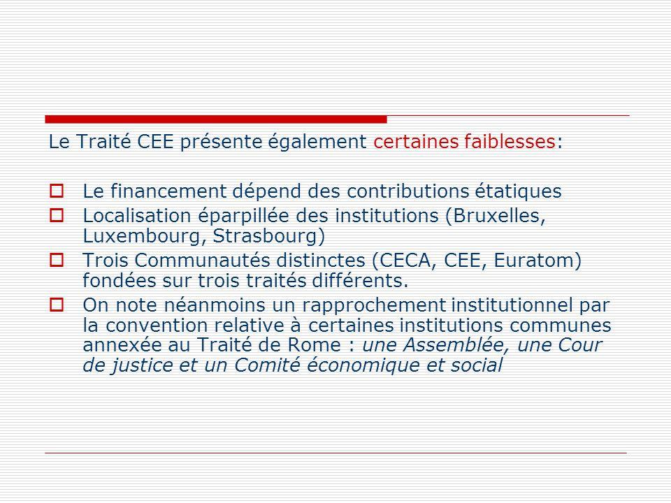 Le Traité CEE présente également certaines faiblesses: Le financement dépend des contributions étatiques Localisation éparpillée des institutions (Bru