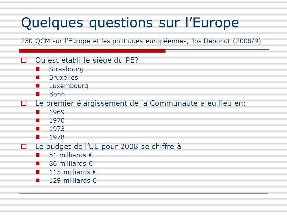 Quelques questions sur lEurope 250 QCM sur lEurope et les politiques européennes, Jos Depondt (2008/9) Où est établi le siège du PE? Strasbourg Bruxel