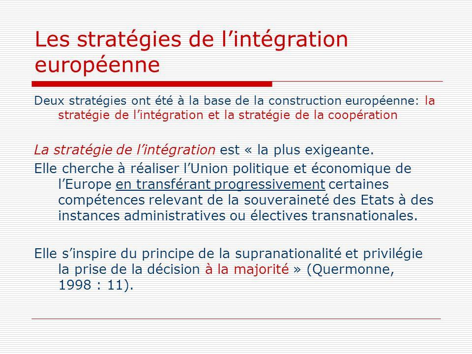Les stratégies de lintégration européenne Deux stratégies ont été à la base de la construction européenne: la stratégie de lintégration et la stratégi