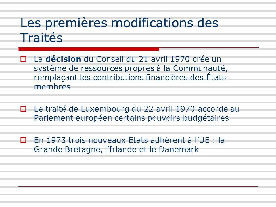 Les premières modifications des Traités La décision du Conseil du 21 avril 1970 crée un système de ressources propres à la Communauté, remplaçant les