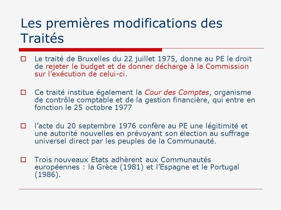Les premières modifications des Traités Le traité de Bruxelles du 22 juillet 1975, donne au PE le droit de rejeter le budget et de donner décharge à l