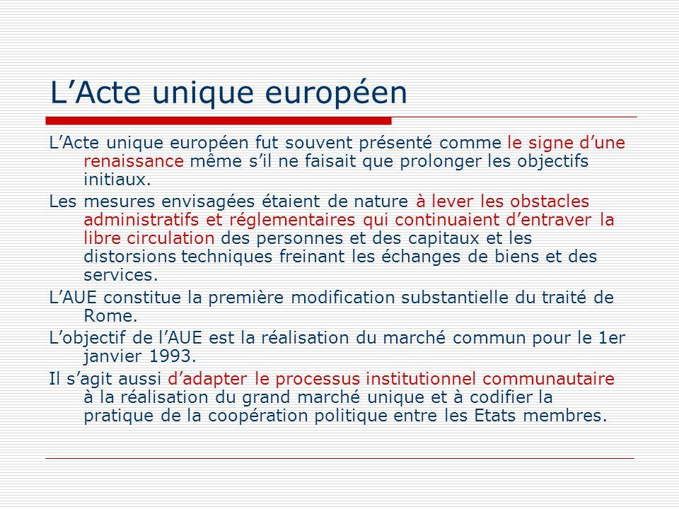 LActe unique européen LActe unique européen fut souvent présenté comme le signe dune renaissance même sil ne faisait que prolonger les objectifs initi
