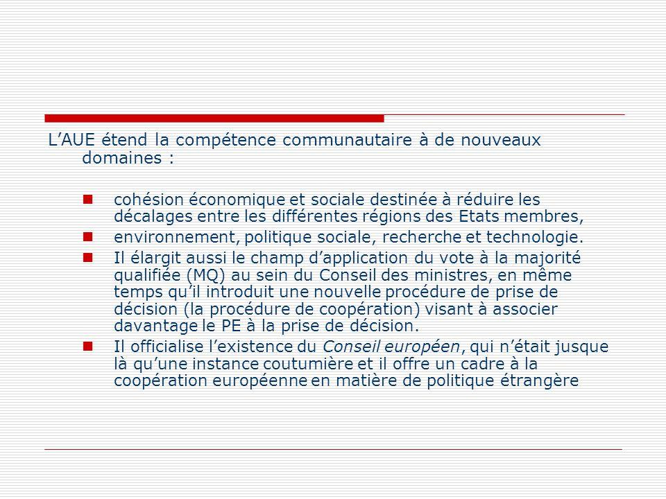 LAUE étend la compétence communautaire à de nouveaux domaines : cohésion économique et sociale destinée à réduire les décalages entre les différentes