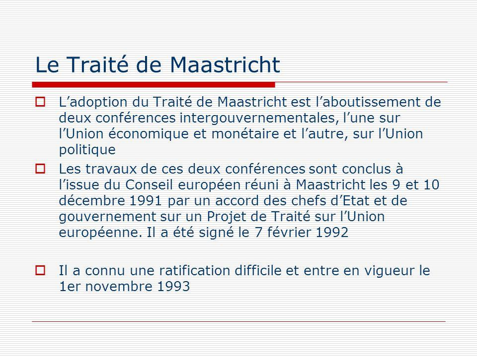 Le Traité de Maastricht Ladoption du Traité de Maastricht est laboutissement de deux conférences intergouvernementales, lune sur lUnion économique et
