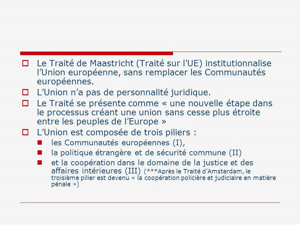 Le Traité de Maastricht (Traité sur lUE) institutionnalise lUnion européenne, sans remplacer les Communautés européennes. LUnion na pas de personnalit