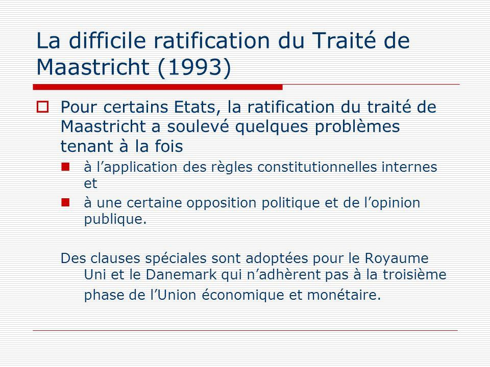 La difficile ratification du Traité de Maastricht (1993) Pour certains Etats, la ratification du traité de Maastricht a soulevé quelques problèmes ten