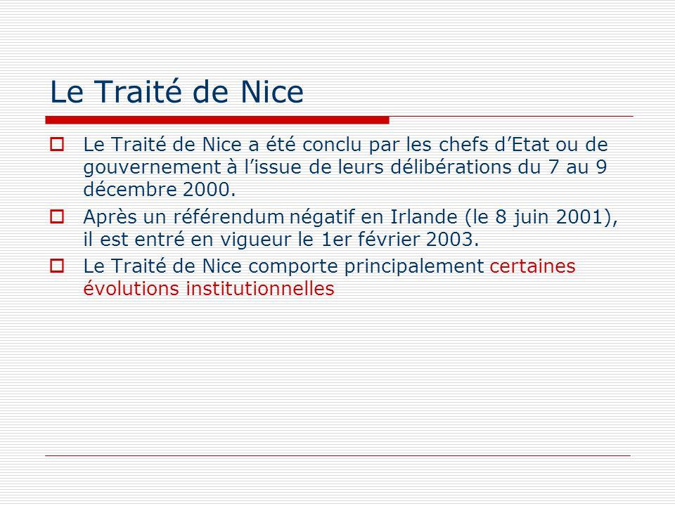 Le Traité de Nice Le Traité de Nice a été conclu par les chefs dEtat ou de gouvernement à lissue de leurs délibérations du 7 au 9 décembre 2000. Après