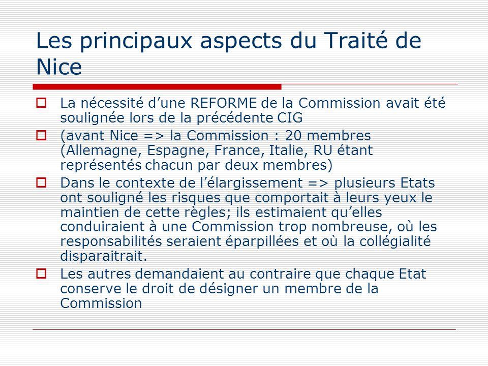 Les principaux aspects du Traité de Nice La nécessité dune REFORME de la Commission avait été soulignée lors de la précédente CIG (avant Nice => la Co