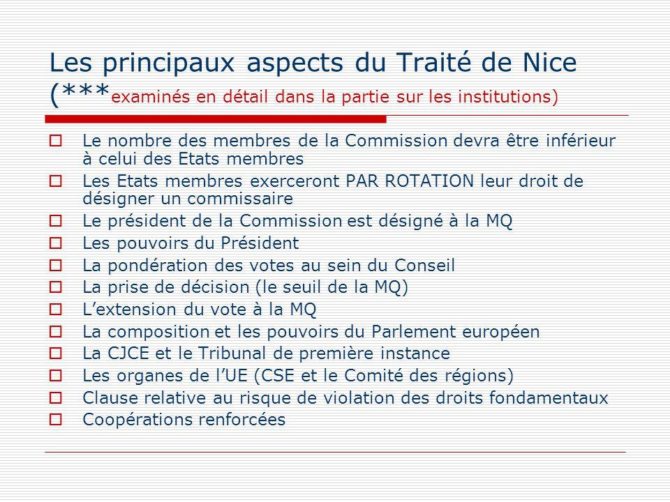 Les principaux aspects du Traité de Nice (*** examinés en détail dans la partie sur les institutions) Le nombre des membres de la Commission devra êtr