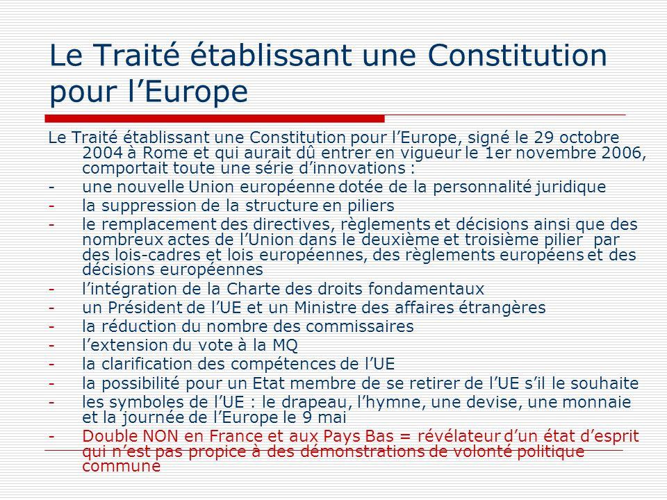 Le Traité établissant une Constitution pour lEurope Le Traité établissant une Constitution pour lEurope, signé le 29 octobre 2004 à Rome et qui aurait