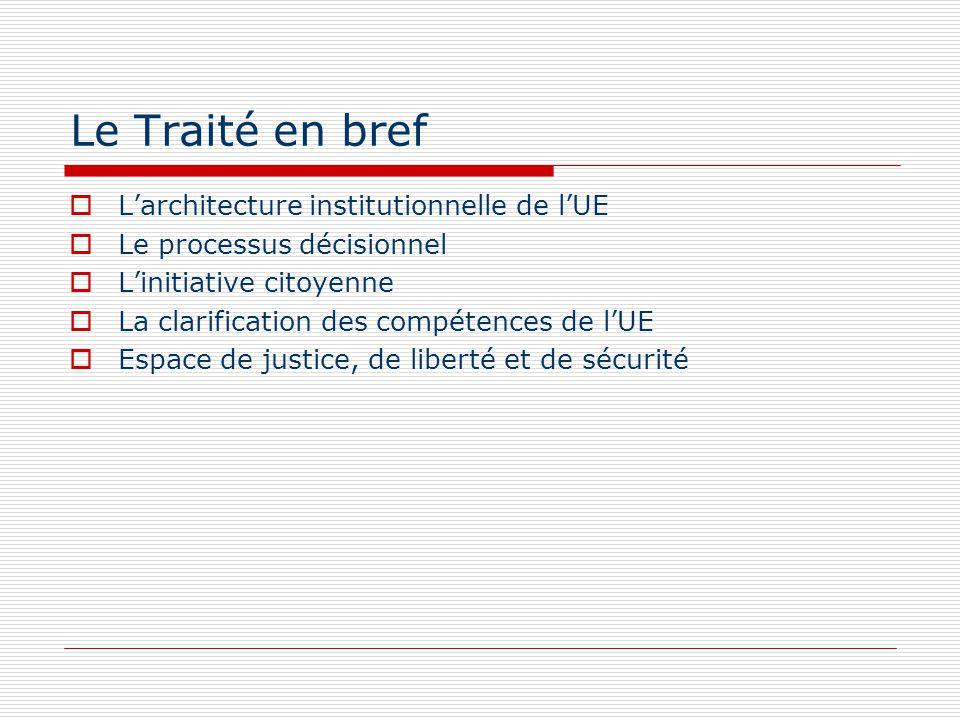 Le Traité en bref Larchitecture institutionnelle de lUE Le processus décisionnel Linitiative citoyenne La clarification des compétences de lUE Espace