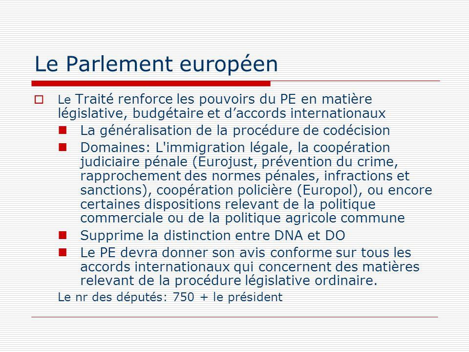 Le Parlement européen Le Traité renforce les pouvoirs du PE en matière législative, budgétaire et daccords internationaux La généralisation de la proc