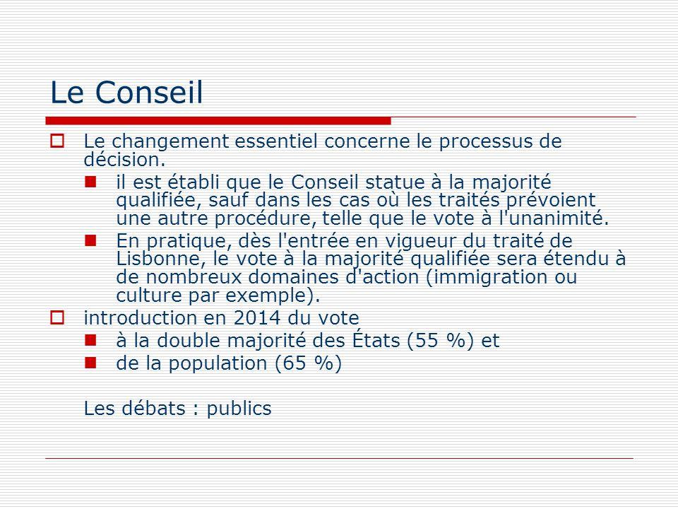 Le Conseil Le changement essentiel concerne le processus de décision. il est établi que le Conseil statue à la majorité qualifiée, sauf dans les cas o