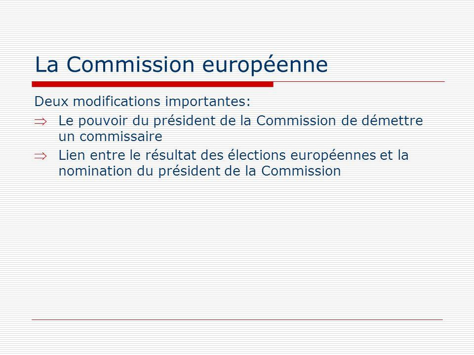 La Commission européenne Deux modifications importantes: Le pouvoir du président de la Commission de démettre un commissaire Lien entre le résultat de