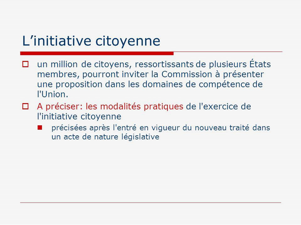 Linitiative citoyenne un million de citoyens, ressortissants de plusieurs États membres, pourront inviter la Commission à présenter une proposition da