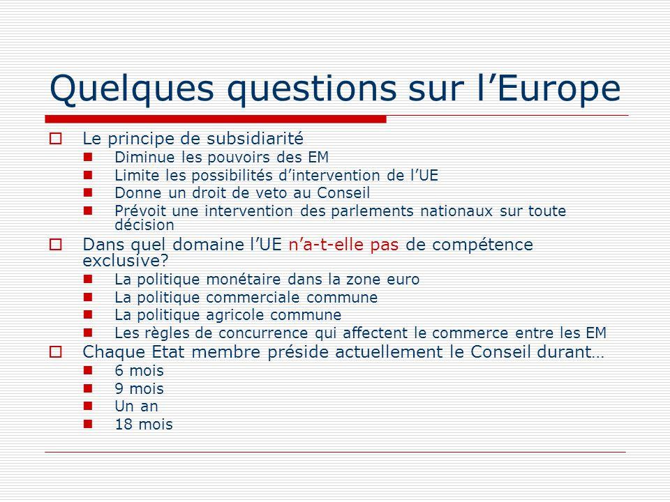 Quelques questions sur lEurope Le principe de subsidiarité Diminue les pouvoirs des EM Limite les possibilités dintervention de lUE Donne un droit de