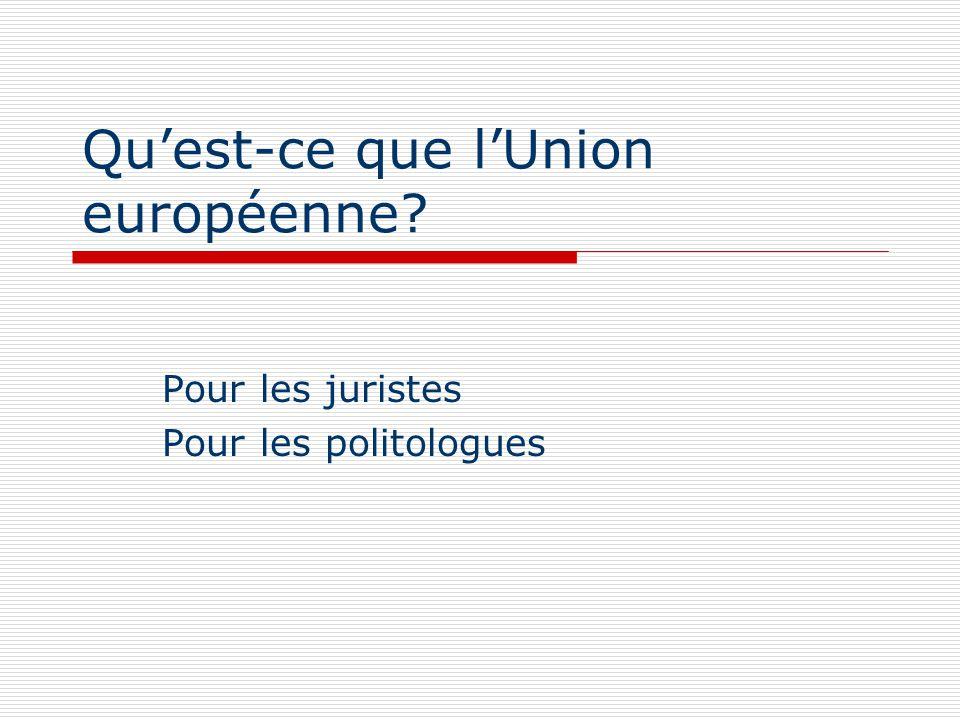 Quest-ce que lUnion européenne? Pour les juristes Pour les politologues