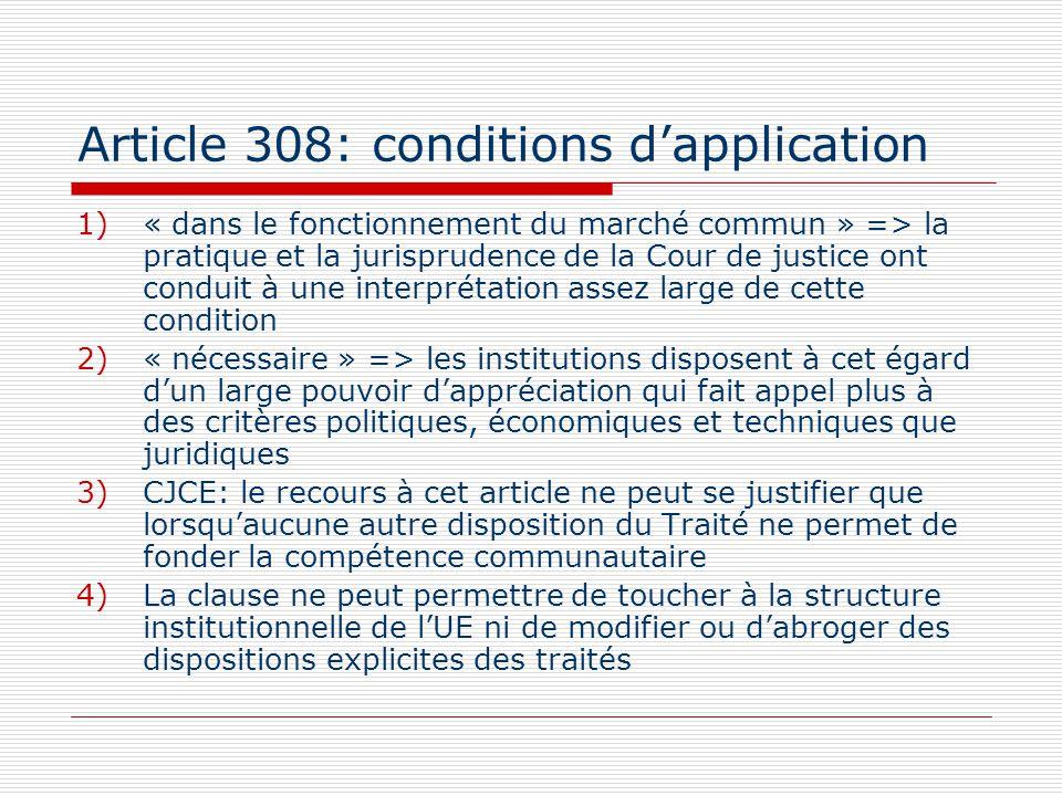 Article 308: conditions dapplication 1)« dans le fonctionnement du marché commun » => la pratique et la jurisprudence de la Cour de justice ont condui