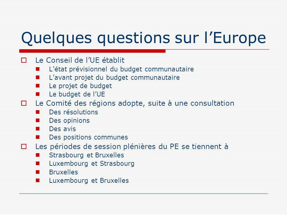 Quelques questions sur lEurope « ACP » est un ensemble dEtats de LAfrique, les Caraïbes, le Pacifique LAustralie, les Caraïbes, le Pacifique LAmérique du Sud, le Canada, le Pacifique LAfrique, le Canada, la Pologne La part la plus importante du budget 2008 de lUE est consacrée Aux dépenses administratives À la cohésion et compétitivité pour la croissance et lemploi Aux dépenses agricoles Aux programmes de recherche scientifique et technique Les orientations politiques générales de lUE sont définies par Le Parlement européen Le Conseil européen La Commission européenne Les ministres des affaires étrangères des Etats membres