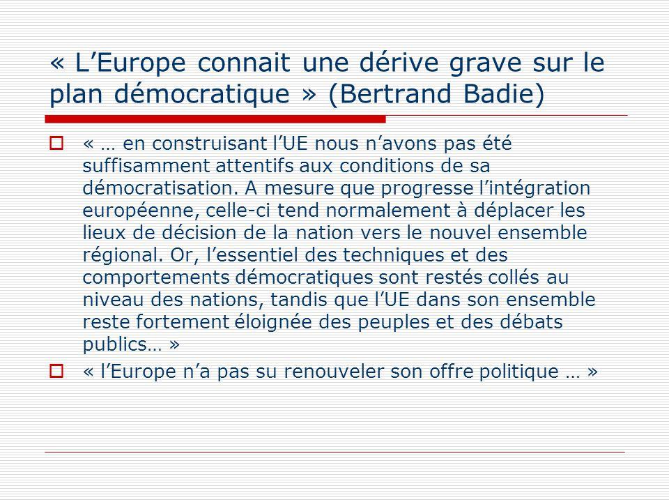 « LEurope connait une dérive grave sur le plan démocratique » (Bertrand Badie) « … en construisant lUE nous navons pas été suffisamment attentifs aux