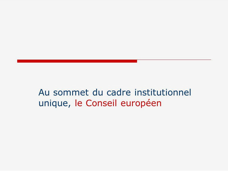 Au sommet du cadre institutionnel unique, le Conseil européen