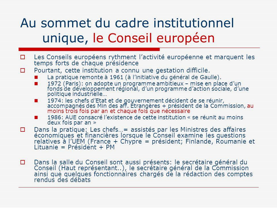 Les Conseils européens rythment lactivité européenne et marquent les temps forts de chaque présidence Pourtant, cette institution a connu une gestatio