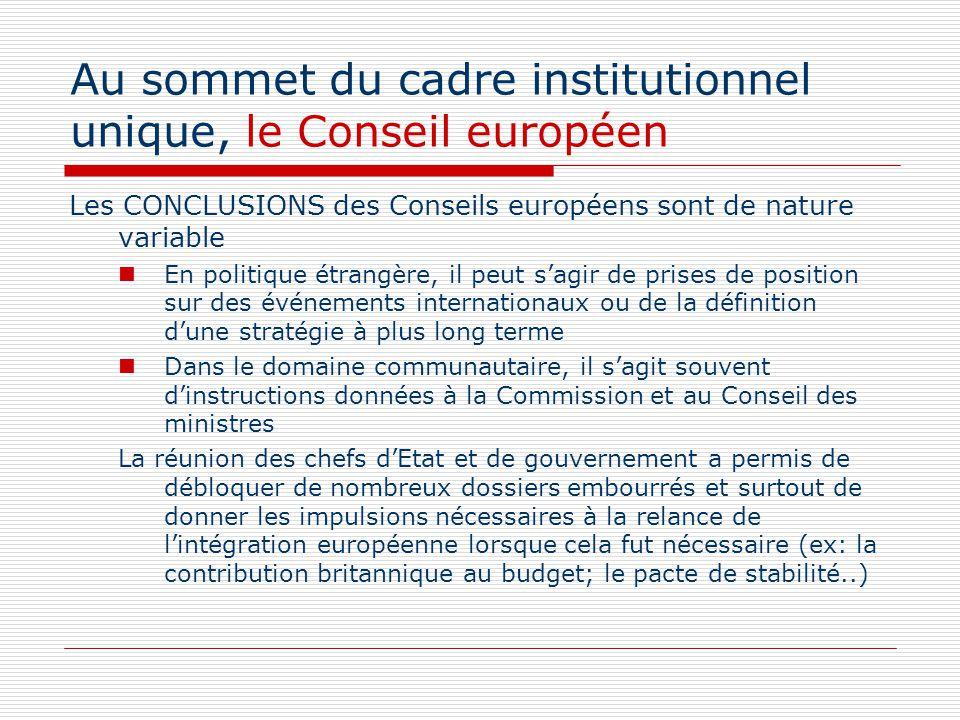 Au sommet du cadre institutionnel unique, le Conseil européen Les CONCLUSIONS des Conseils européens sont de nature variable En politique étrangère, i