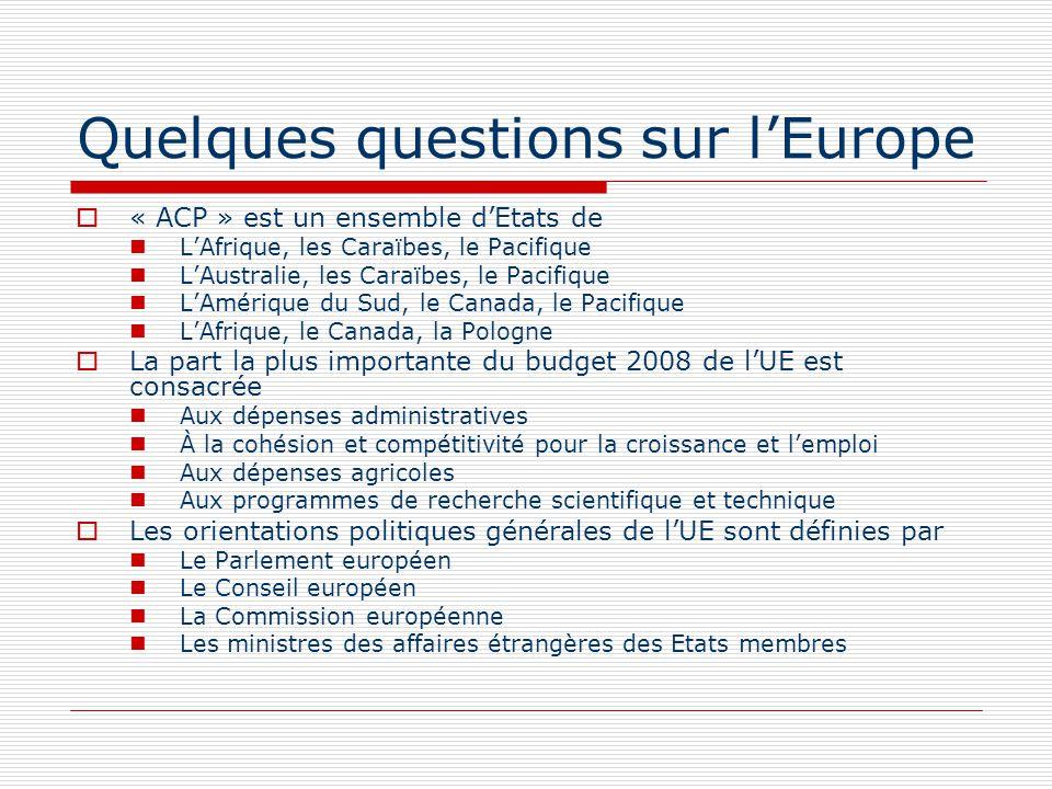 Quelques questions sur lEurope « ACP » est un ensemble dEtats de LAfrique, les Caraïbes, le Pacifique LAustralie, les Caraïbes, le Pacifique LAmérique