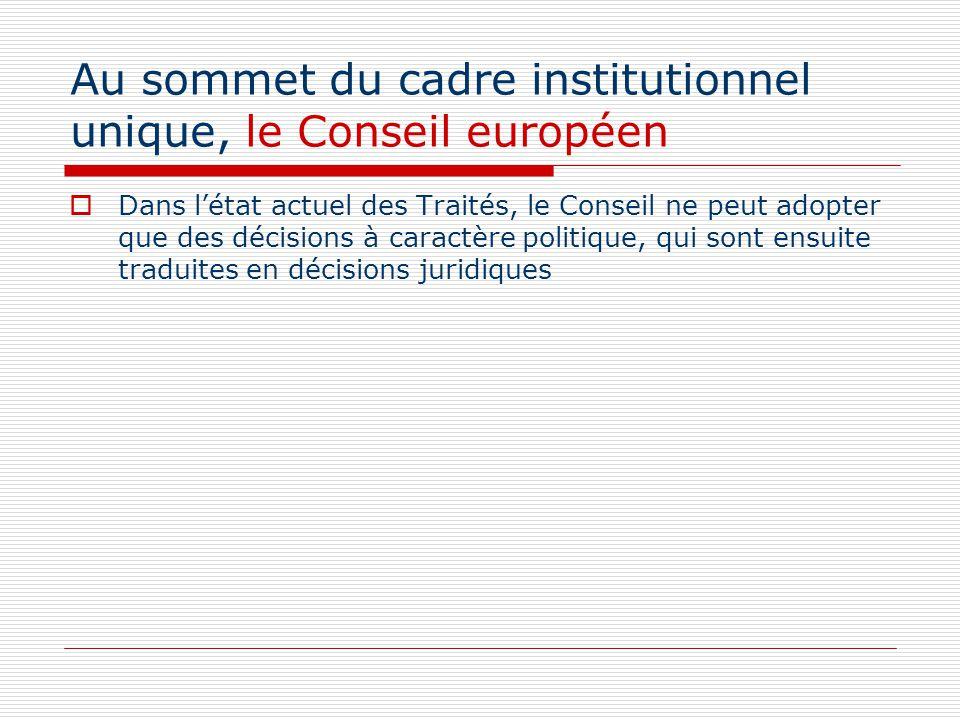 Au sommet du cadre institutionnel unique, le Conseil européen Dans létat actuel des Traités, le Conseil ne peut adopter que des décisions à caractère