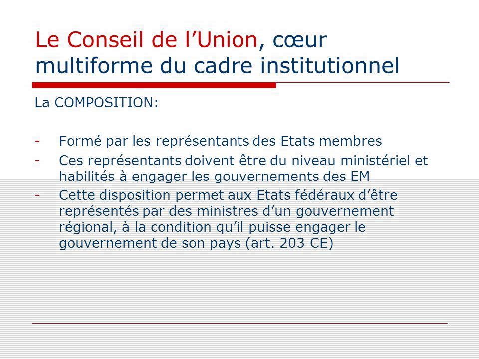 Le Conseil de lUnion, cœur multiforme du cadre institutionnel La COMPOSITION: -Formé par les représentants des Etats membres -Ces représentants doiven
