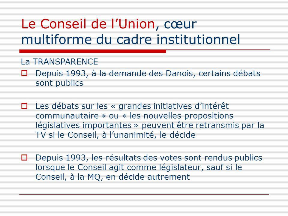 Le Conseil de lUnion, cœur multiforme du cadre institutionnel La TRANSPARENCE Depuis 1993, à la demande des Danois, certains débats sont publics Les d
