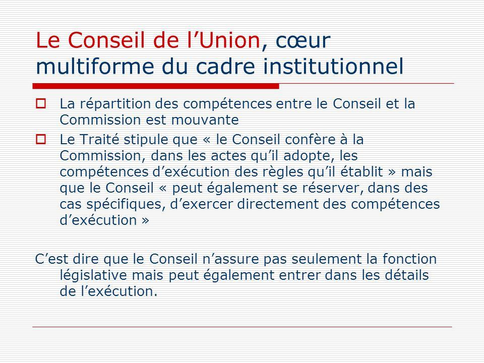 Le Conseil de lUnion, cœur multiforme du cadre institutionnel La répartition des compétences entre le Conseil et la Commission est mouvante Le Traité