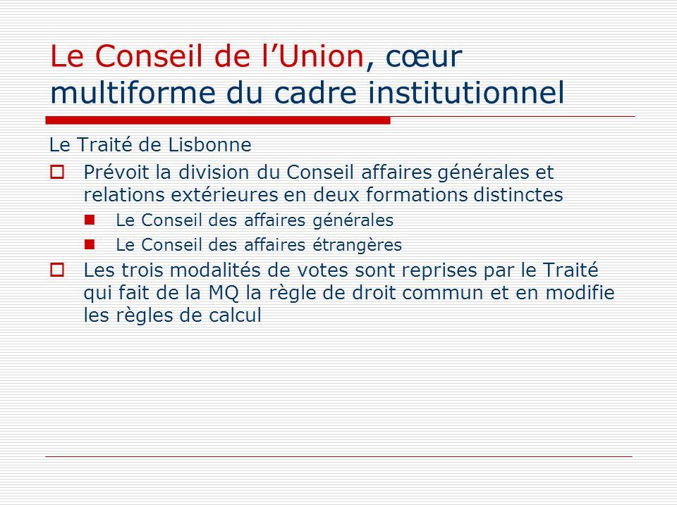 Le Conseil de lUnion, cœur multiforme du cadre institutionnel Le Traité de Lisbonne Prévoit la division du Conseil affaires générales et relations ext