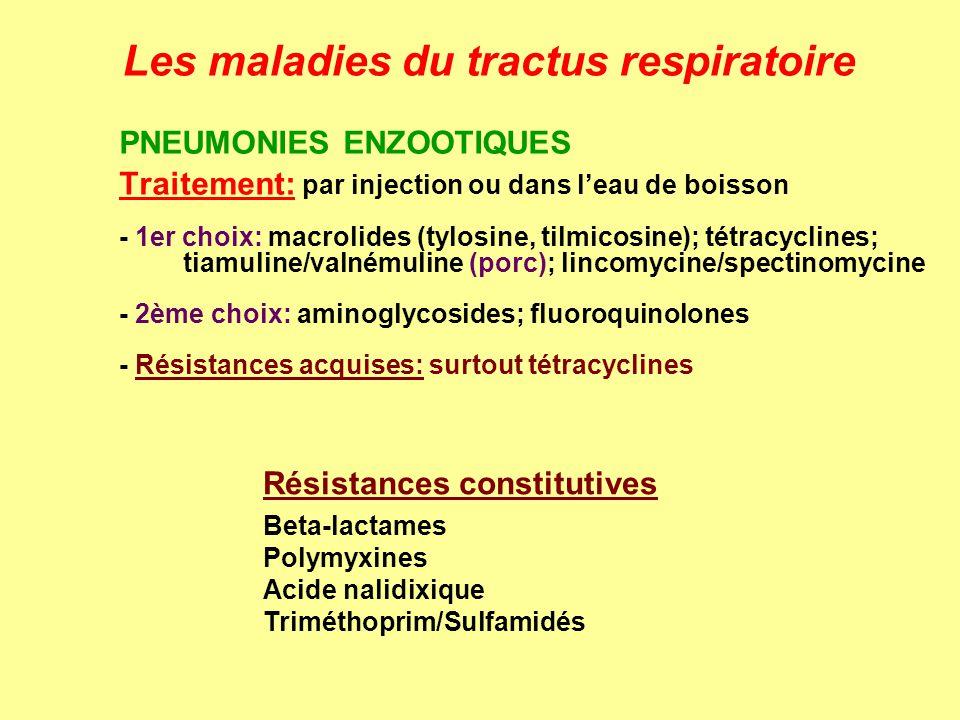 Les maladies du tractus respiratoire PNEUMONIES ENZOOTIQUES Traitement: par injection ou dans leau de boisson - 1er choix: macrolides (tylosine, tilmi