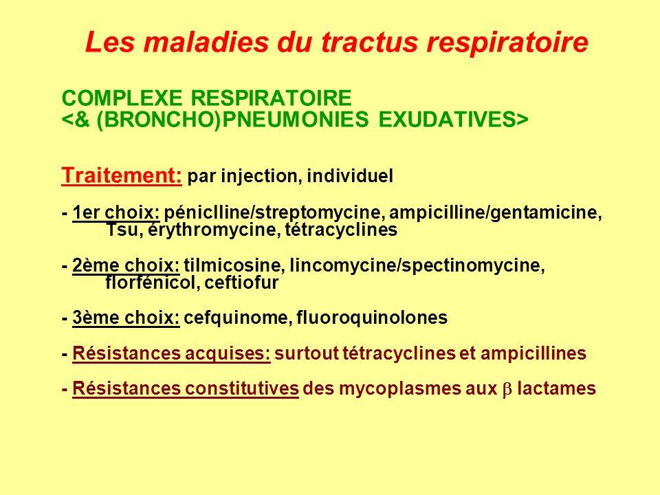 Les maladies du tractus respiratoire COMPLEXE RESPIRATOIRE Traitement: par injection, individuel - 1er choix: péniclline/streptomycine, ampicilline/ge