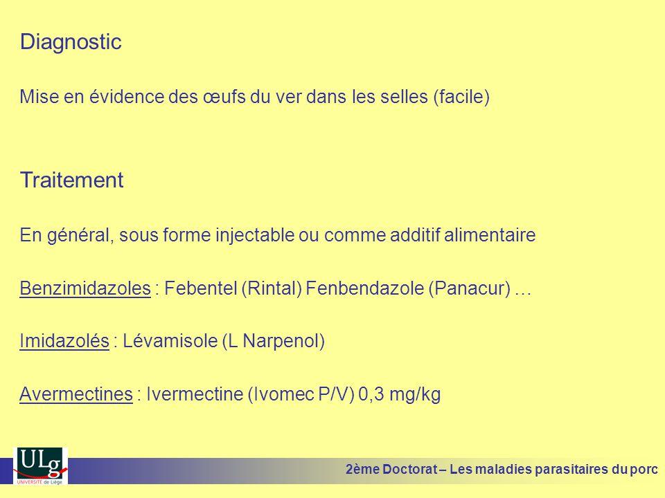 Diagnostic Mise en évidence des œufs du ver dans les selles (facile) Traitement En général, sous forme injectable ou comme additif alimentaire Benzimi